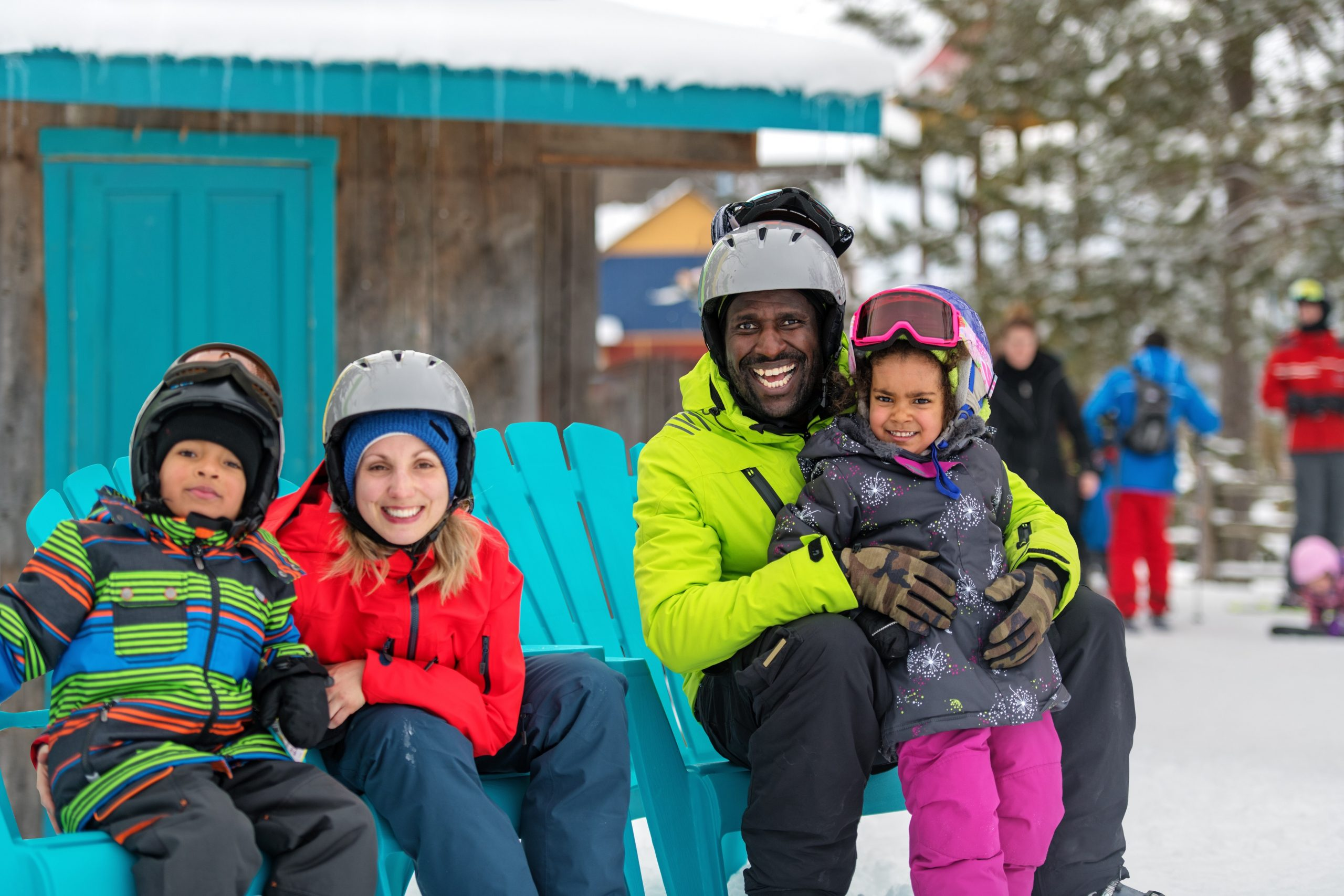 Families and friends in a ski resort